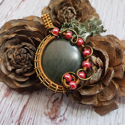 Gorgeous Green African Jasper & Pearl Red Pendant