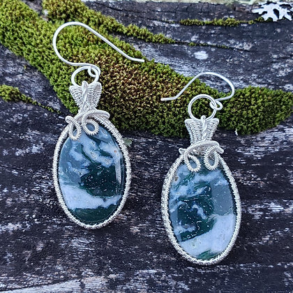 Spectacular Moss Agate Oval Earrings