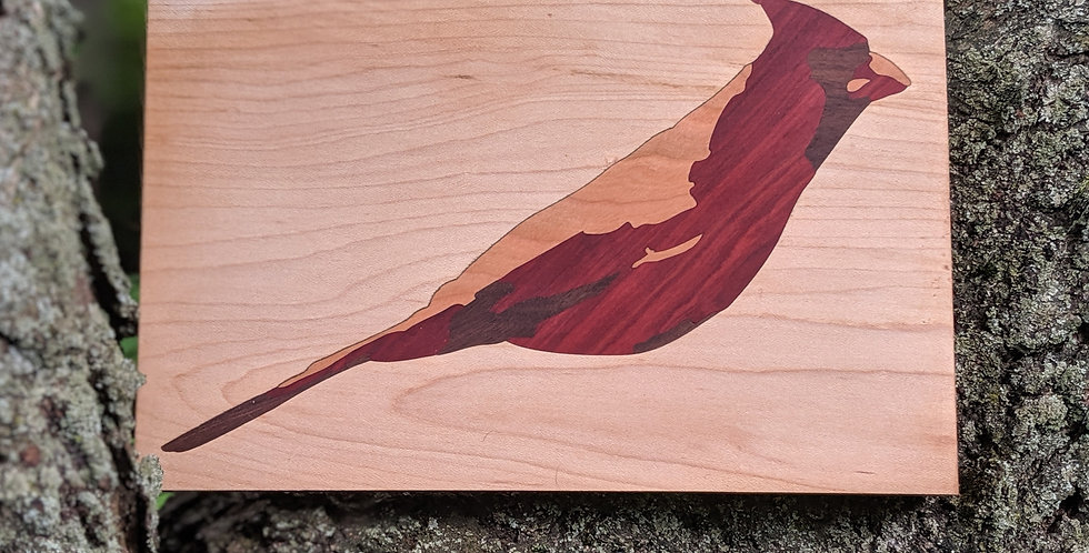 Inlaid wood cardinal