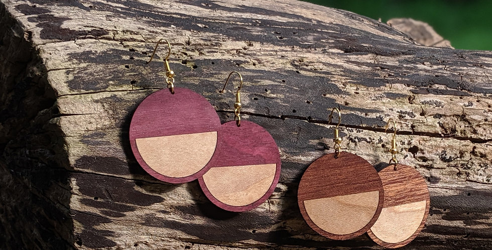 Circle Earrings with Inlaid Maple