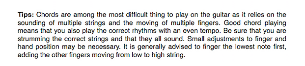 "A sample tip from ""A Concise Introduction to Guitar"""