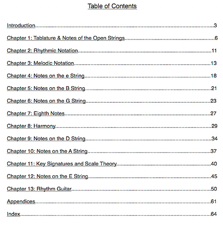 "The table of contents for ""A Concise Introduction to Guitar"""