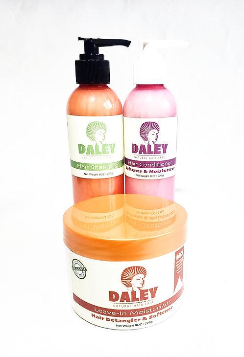 Natural Hair Detangler and Softener + Shampoo + Conditioner