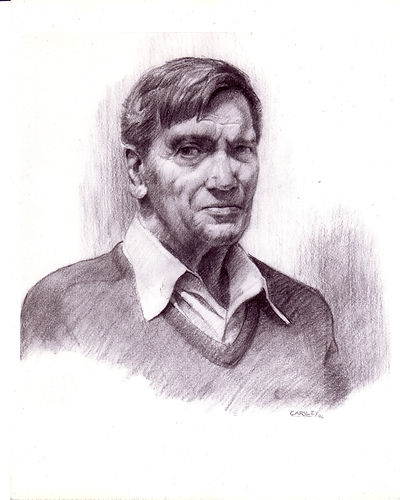 Hans Schuler Jr.- Sculptor- Charcoal