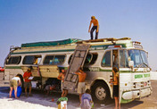 Loading up the camp kitchen on the Green Tortoise