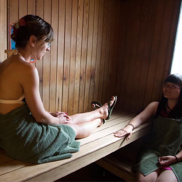 The comfortable and free Sauna at our Sa