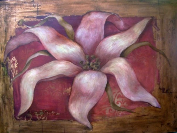 Whimsical lily w/ gold leaf border