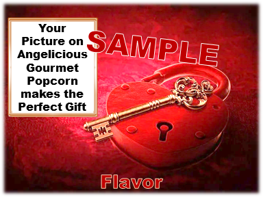 2-3.8 Cup bags of Gourmet Popcorn. Heart Lock & your picture on the label.