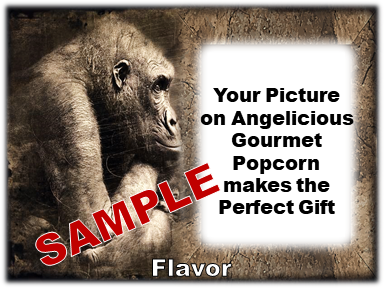 2-3.8 Cup bags of Gourmet Popcorn. Gorilla & your picture on the label.