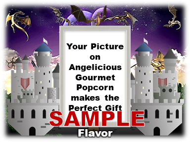 2-3.8 Cup bags of Gourmet Popcorn. Castle + Dragons & your picture on the label.