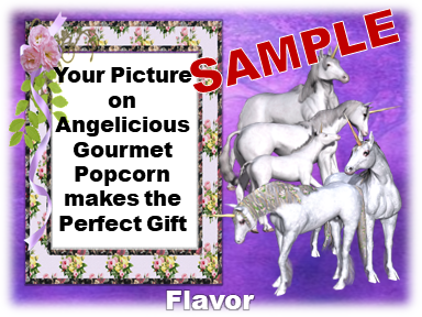 2-3.8 Cup bags of Gourmet Popcorn. Unicorns & your picture o