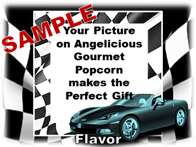 2-3.8 Cup bags of Gourmet Popcorn. Corvette & your picture on the label.