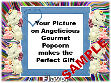 2-3.8 Cup bags of Gourmet Popcorn, Four Elephants & your picture on the label.