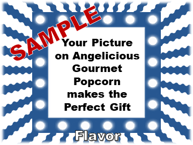 2-3.8 Cup bags of Gourmet Popcorn. Squiggly Lines & your picture on the label.