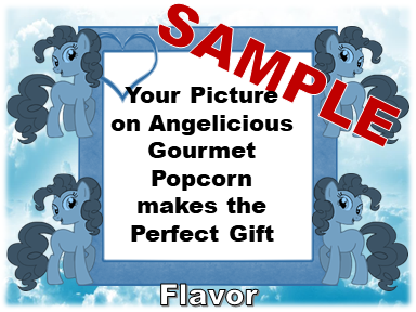 2-3.8 Cup bags of Gourmet Popcorn. Two Blue Ponies & your picture on the label.