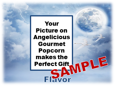 2-3.8 Cup bags of Gourmet Popcorn. World, clouds & your picture on the label.