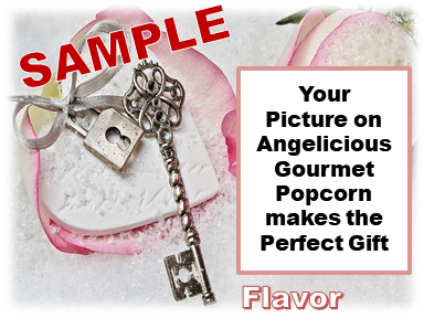 2-3.8 Cup bags of Gourmet Popcorn. Lock, key & your picture on the label.