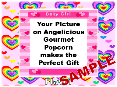2-3.8 Cup bags of Gourmet Popcorn. Baby & your picture on the label.