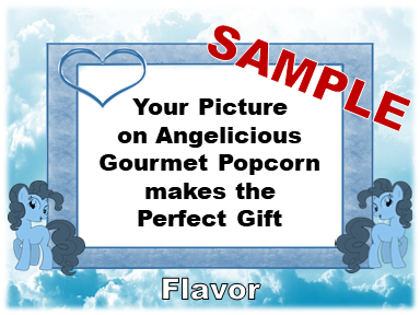 2-3.8 Cup bags of Gourmet Popcorn, Two Blue Ponies & your picture on the label.
