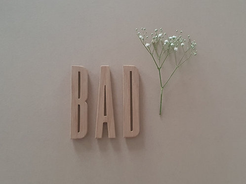 """Baderomskilt  """"BAD"""""""