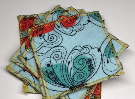 ResuableMake Up Wipes on the Overlocker
