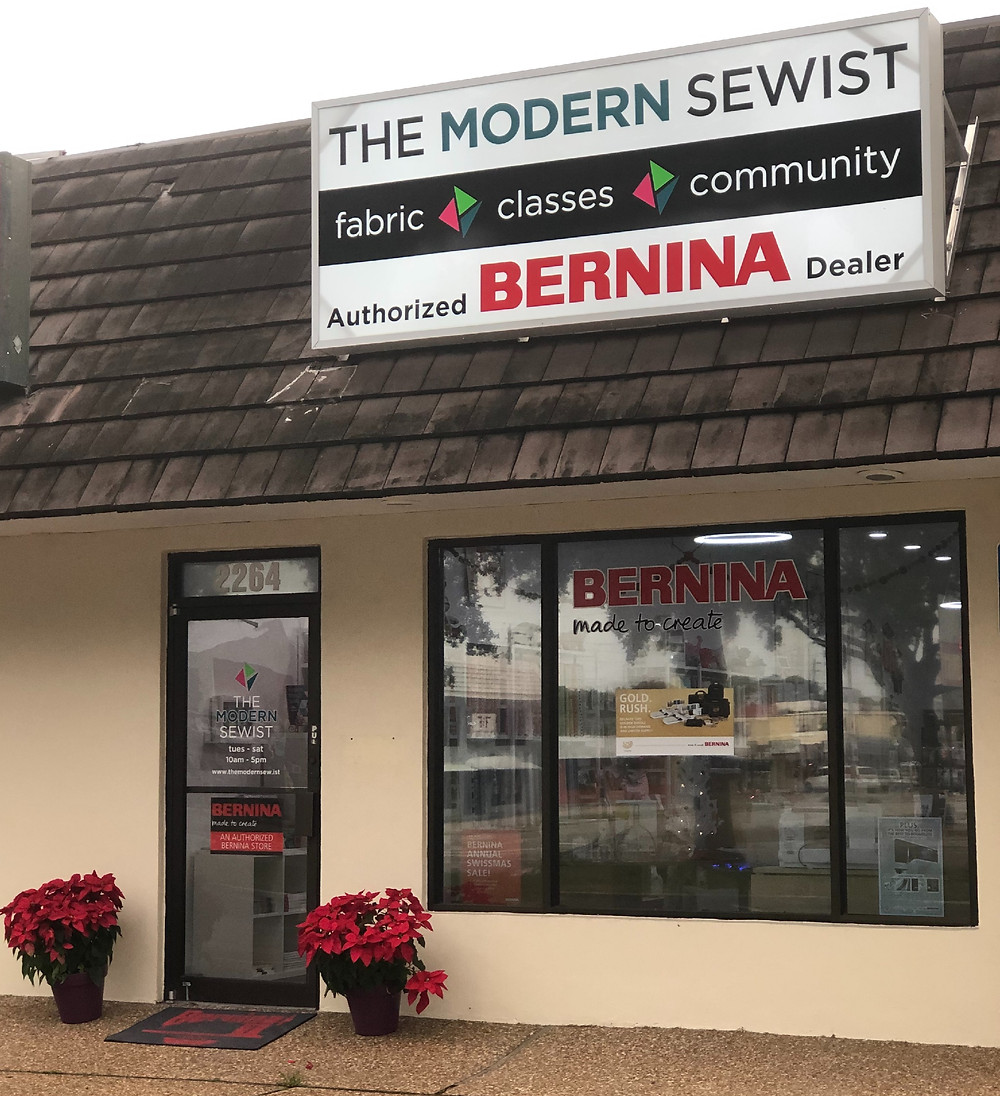 The store front of the Modern Sewist in Sarasota, FL