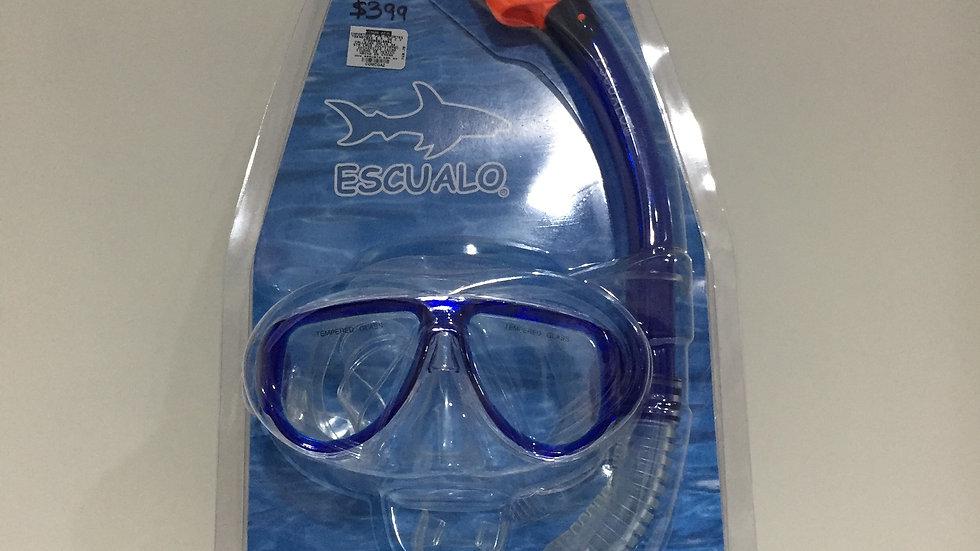 Combo Escualo Unitalla Mascara Vidrio templado, Mascara y correa de PVC , Evilla