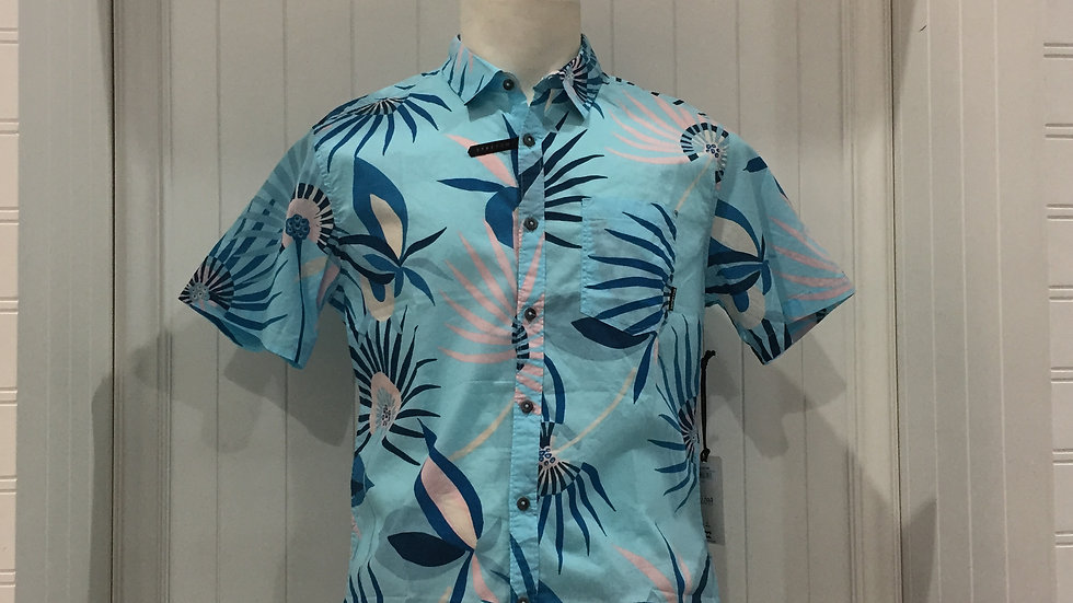 Camisa Billabong Sundays Flora BluStretch, 100% algodón.