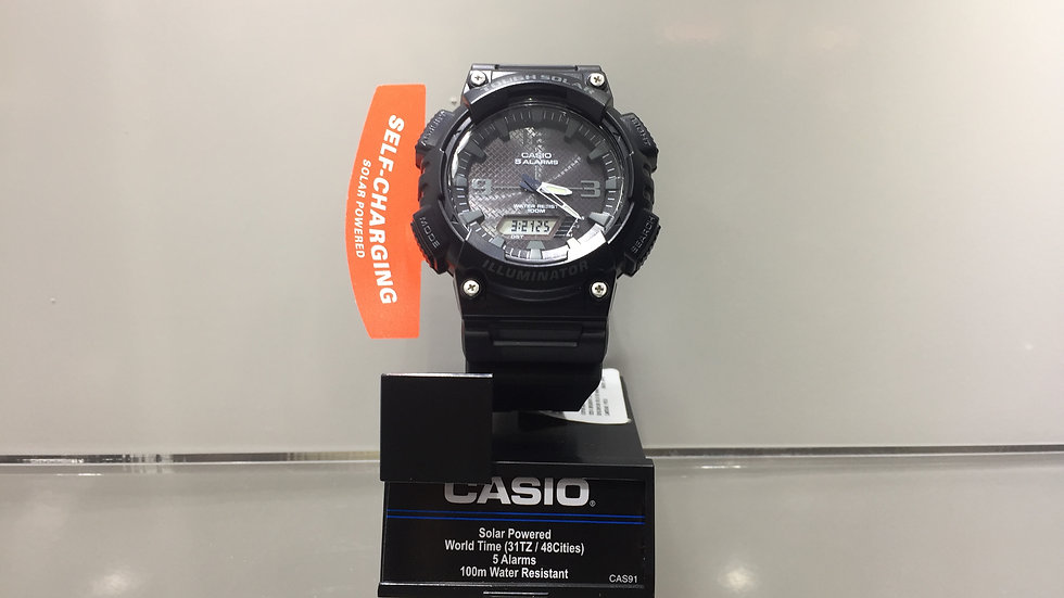 Solar Powered World Time (31TZ / 48 cities) 5 Alarmas 100m Water Resistant.