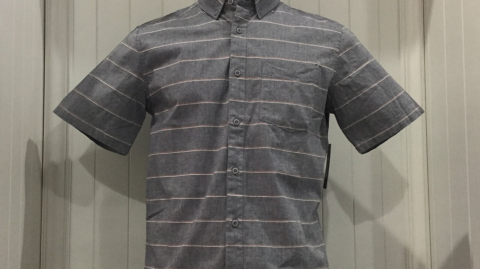 Camisa Hurley Keanu Stripe Top SS, Stretch, 98% algodón, 2% Elastano.
