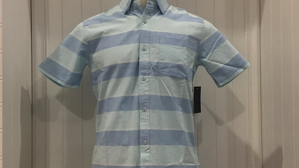 Camisa Hurley Blocked Striped Top SS Tailered Fit, Stretch, 100% algodón.
