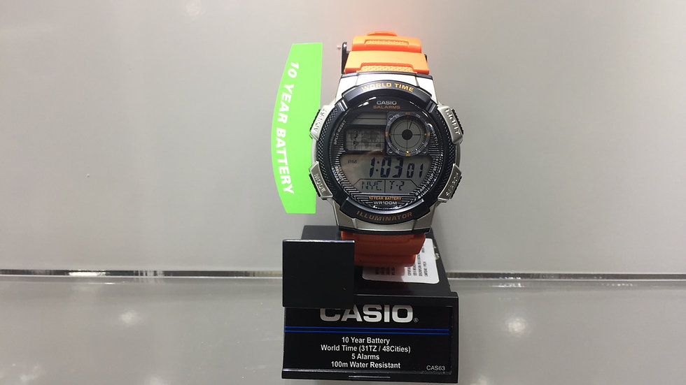 Casio 10 Year Battery Word Time (31TZ/ 48 Cities) 5 Alarms 100m Water Resistant