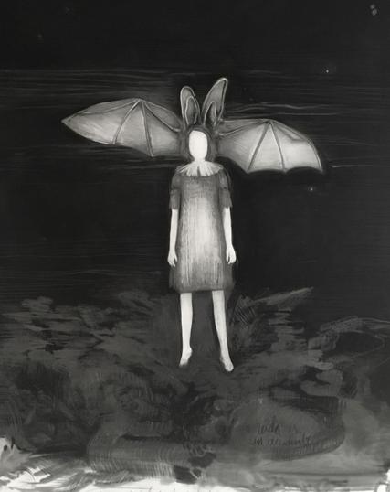 Devenir murciélago, lapiz y óleo sobre papel mylar, 84x60,5cm,2020