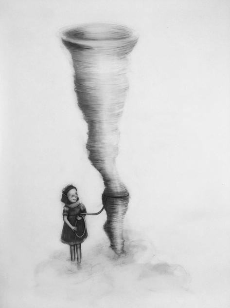 Domadora de tormentas, lápiz y óleo sobre papel mylar, 84 x 56, 2020