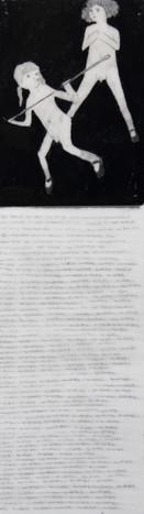 Lápiz y delineador de ojos sobre papel mylar, 16 x 5 cm, 2014.
