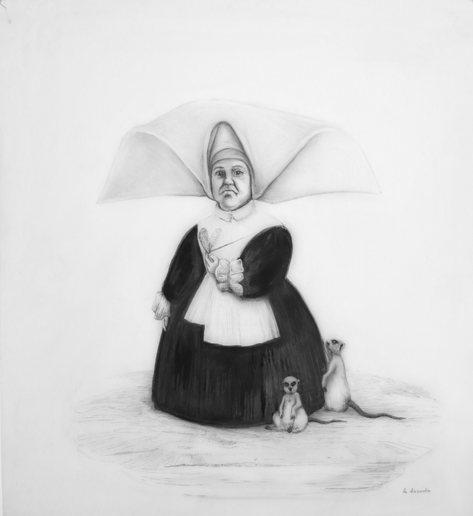 La discordia, lápiz sobre papel mylar, 49 x 45cm, 2020