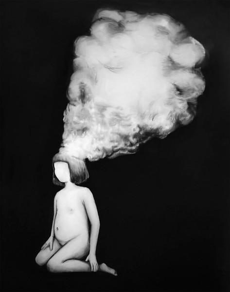 (Sin) descanso, lápiz y óleo sobre papel mylar, 61 x 57cm, 2021