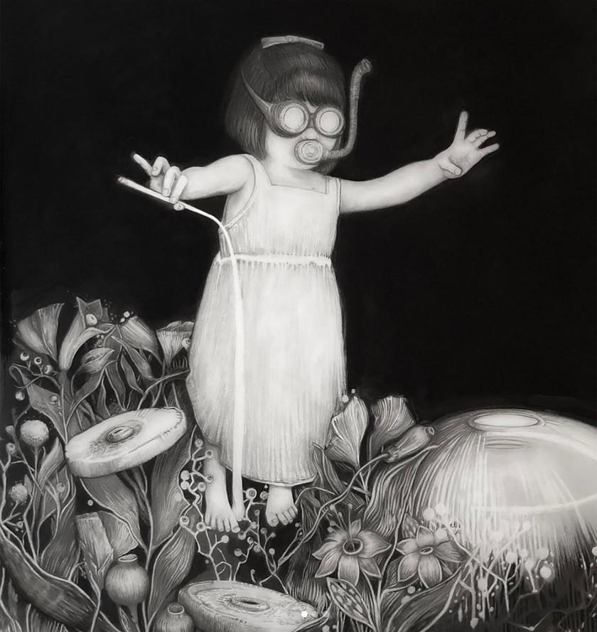 Jardín luminoso, lápiz y óleo sobre papel mylar, 92x88cm,2020