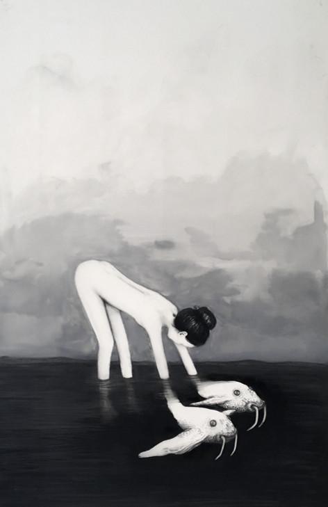 Trasmundo, mixta sobre papel mylar, 85 x 58cm, 2020