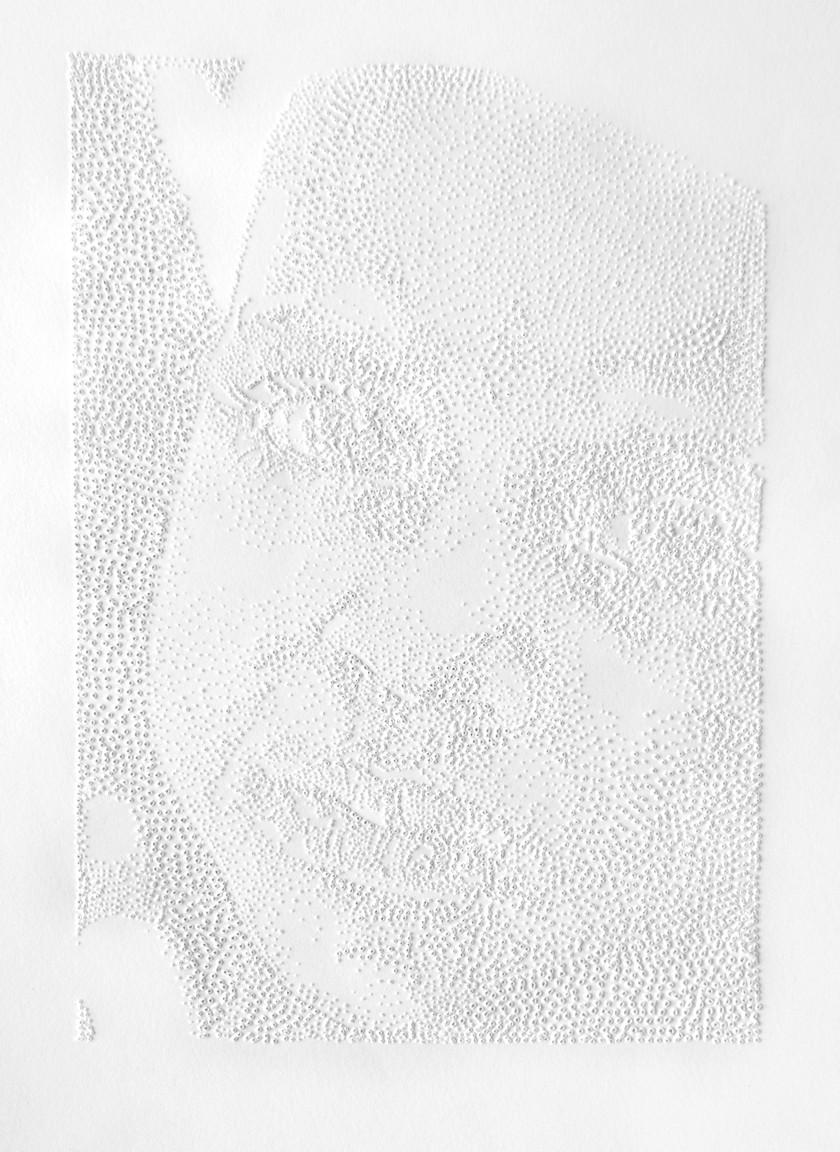 Perforaciones en papel, 23 x 18 cm, 2009.