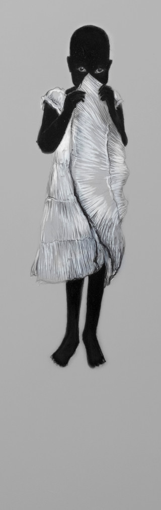 Lápiz y delineador de ojos sobre papel mylar, 35 x 11 cm, 2017.