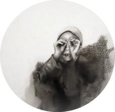 En la mira, lápiz sobre papel mylar, 2018.