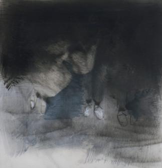 Lápiz y óleo sobre papel mylar, 13 x 13 cm, 2017.