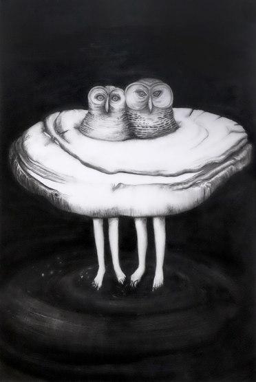 Vínculos luminosos, mixta sobre papel mylar, 84 x 56, 2020