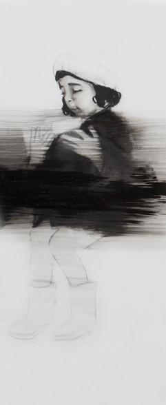 Lápiz y óleo sobre papel mylar, 23 x 10 cm, 2017.