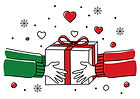 hands-giving-christmas-present-vector-id