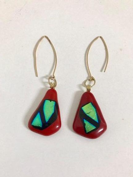 Red  & Gold Triangular  Earrings