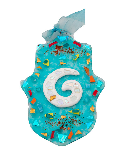 Sea Blue Spiral Hamsa