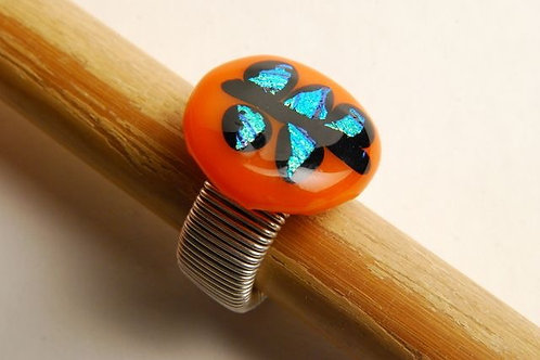 Orange  and  Turquoise Ring with  Dichroic