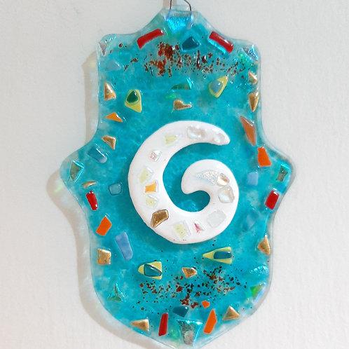 Blue Hamsa with Spiral